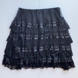 Black Tiered Layered Lace Skirt with Lining